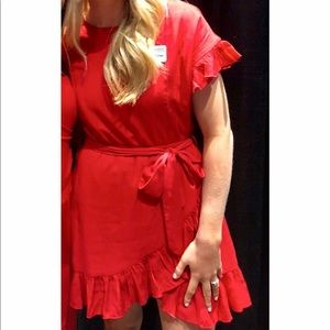 Forever 21 Red Ruffled Dress with Waist Tie